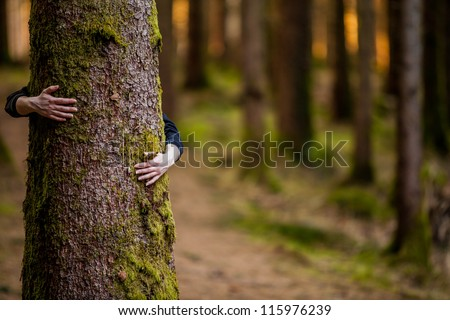 hugging a tree - stock photo