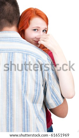 hugging woman and man, he smells hideously - stock photo