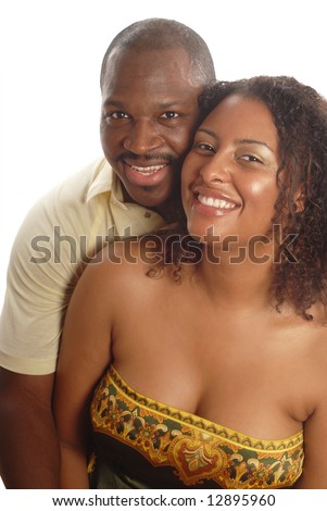 Hugging young couple, very much in love - stock photo