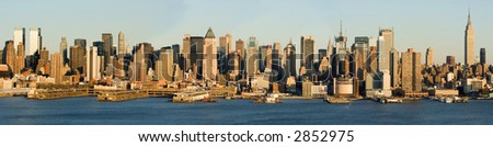 Hugh Detailed Panorama of Midtown Manhattan and Hudson River - stock photo