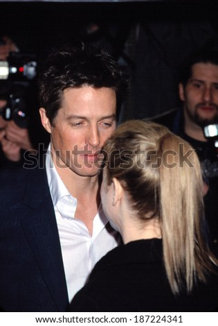 Hugh Grant and Renee Zellweger at the NYC premiere of BRIDGET JONES'S DIARY, 4/2/2001