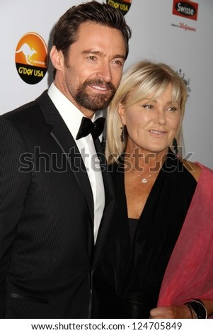 Hugh Jackman and wife Deborra-Lee Furness at the 2013 G'Day USA Los Angeles Black Tie Gala, JW Marriot, Los Angeles, CA  01-12-13 - stock photo