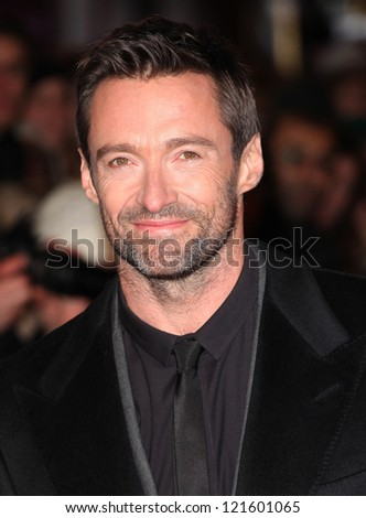 Hugh Jackman arriving for the premiere of 'Les Miserables' at Leicester Square, London. 05/12/2012 Picture by: Alexandra Glen - stock photo