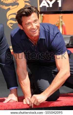 Hugh Jackman at the ceremony honoring Hugh Jackman with Hand and Footprints in the courtyard of the Grauman's Chinese Theatre. Grauman's Chinese Theatre, Hollywood, CA. 04-21-09 - stock photo