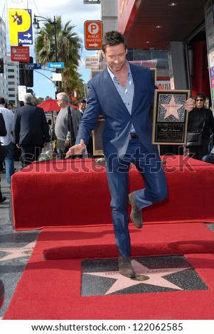 Hugh Jackman at the Hugh Jackman Star on the Hollywood Walk of Fame Ceremony, Hollywood, CA 12-13-12 - stock photo