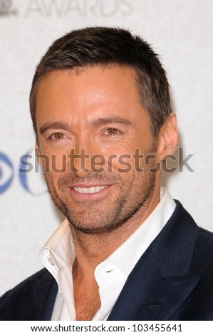 Hugh Jackman at the 2010 People's Choice Awards Press Room, Nokia Theater L.A. Live, Los Angeles, CA. 01-06-10 - stock photo