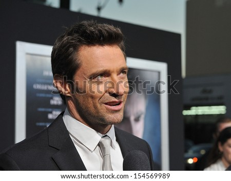 "Hugh Jackman at the premiere of his movie ""Prisoners"" at the Academy of Motion Picture Arts & Sciences in Beverly Hills. September 12, 2013  Los Angeles, CA - stock photo"