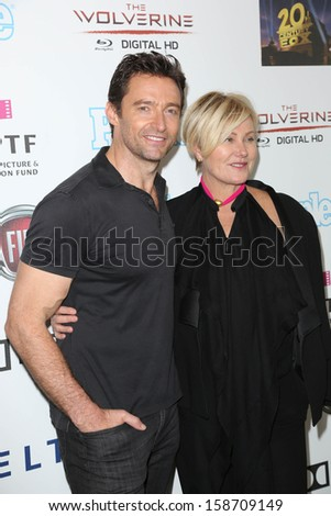 "Hugh Jackman, Deborra-Lee Furness at Hugh Jackman ""One Night Only,"" Dolby Theater, Hollywood, CA 10-12-13 - stock photo"