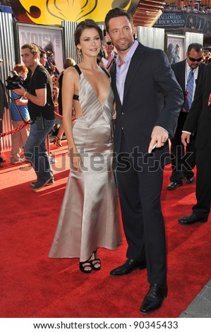 """Hugh Jackman & Olga Fonda at the Los Angeles premiere of their new movie """"Real Steel"""" at Universal Studios Hollywood. October 2, 2011  Los Angeles, CA Picture: Paul Smith / Featureflash - stock photo"""