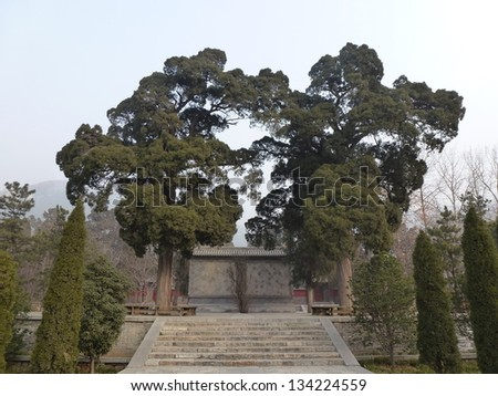 """Huishan Temple, Dengfeng, Zhengzhou, Henan, China. Historic Monuments of Dengfeng in """"The Centre of Heaven and Earth""""  is UNESCO World Heritage Site since 2010. - stock photo"""
