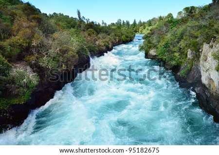 Huka Falls - Waterfall near Taupo, New Zealand. - stock photo
