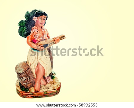 Hula Hawaiian doll with copy space background - stock photo