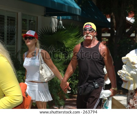 Hulk Hogan shopping in Key West during spring break while filming new reality show. - stock photo