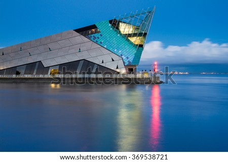 HULL, ENGLAND - MARCH 13: The Deep is a public aquarium situated at Sammy's Point, at the confluence of the River Hull and the Humber estuary on March 13 2013 in Hull, England. - stock photo
