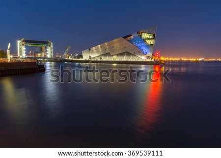 HULL, ENGLAND - OCTOBER 18: The Deep is a public aquarium situated at Sammy's Point, at the confluence of the River Hull and the Humber estuary on October 18 2012 in Hull, England. - stock photo