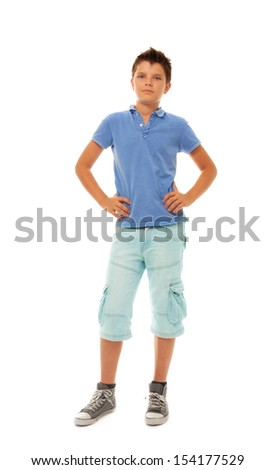 Hull height portrait of happy young boy 11 years old, isolated on white - stock photo