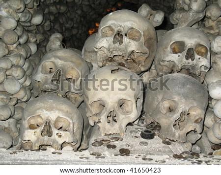 Humam skulls and bones in Kutna Hora church Czechia - stock photo