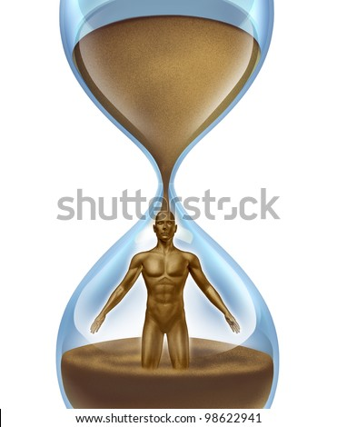 Human aging process,and age related illness as cancer Alzhiemer disease and other medical problems as an hour glass time symbol with sand in the shape of a man falling in an urgent way on white - stock photo