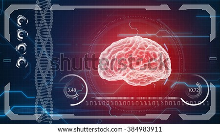 Human anatomy. Human brain. HUD background. Medical concept anatomical future