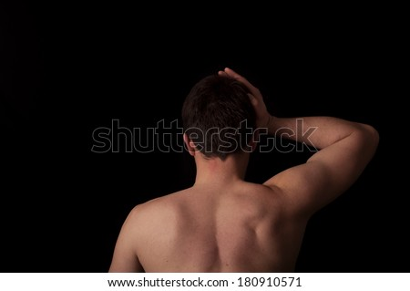 Human anatomy series: neck exercise  - stock photo
