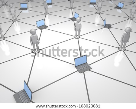 Human and Computer Social Network (notebook portable computers linked in a network) - stock photo