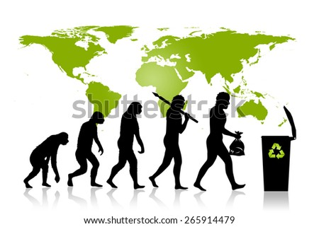 Human and Ecology evolution with green, map of earth, background.