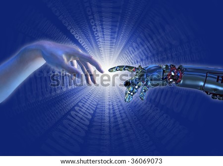 """Human and robot hands almost touching with a binary burst of light. A modern take on the famous Michelangelo painting in the Sistine Chapel; titled, """"The Creation of Adam"""". - stock photo"""