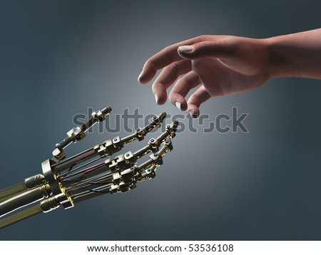 human and robot helping hands - stock photo