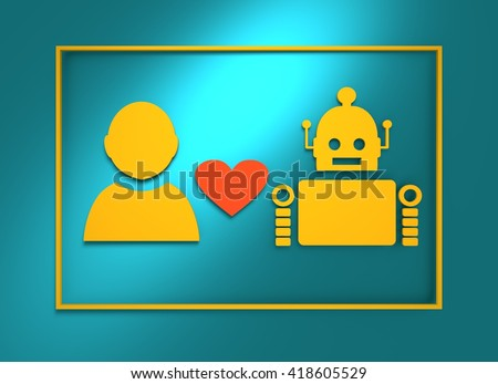 Human and robot relationships. Robotics industry relative image. Heart icon between robot and man. 3D rendering - stock photo