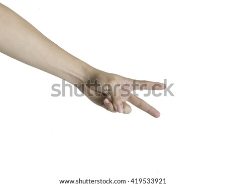 human arm showing two fingers isolated