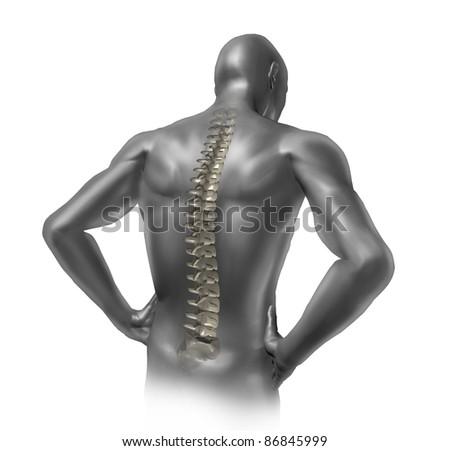 Human back pain showing the spinal cord skeleton inside the patients anatomical body. - stock photo