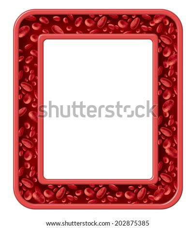 Human blood frame and healthy circulation border design symbol as red cells flowing in a rectangular vein from the human circulatory system as a medical icon of cardiology and cardiovascular fitness. - stock photo