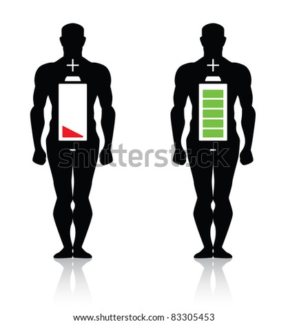 human body high low battery - stock photo