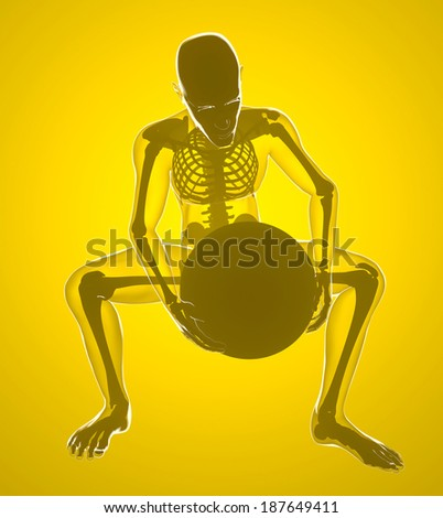 Human body holding a weight on his knees, x-ray  - stock photo