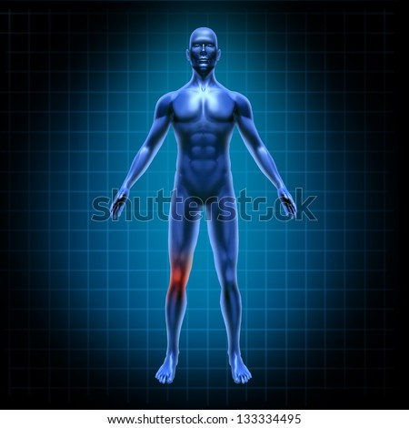 Human body knee pain needing surgery with grid from an accident in a medical x-ray pose of joints on a blue and black background.