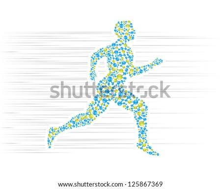 Human body running. Editable vector format in portfolio. - stock photo