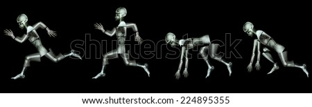 human bone is running. (step of run a race),(Whole body : head neck spine back shoulder arm elbow forearm hand wrist finger thorax abdomen pelvis hip leg thigh knee ankle foot heel ) - stock photo