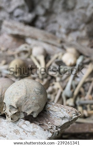 Human bones and skulls in Ketekesu (Tana Toraja, South Sulawesi, Indonesia), traditional burial site with semi open old wooden coffins placed in caves or hanging from cliffs. - stock photo