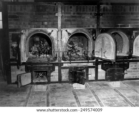 Human bones in the crematorium of Buchenwald concentration camp after liberation. U.S. 3rd Army arrived at the camp near Weimer, Germany, on April 11, 1945, during World War 2. - stock photo