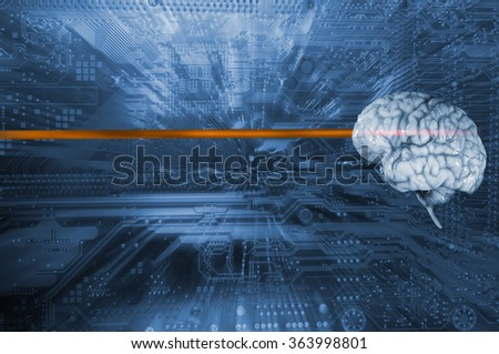 human brain against a computers motherboard, artificial-intelligence, futuristic concept, slight zoom effect. - stock photo