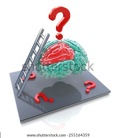 Human brain and a question marks. 3d render illustration  - stock photo