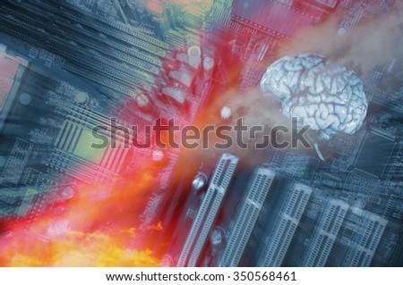 human brain and futuristic communication, artificial intelligence - stock photo