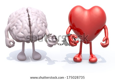 human brain and heart with arms and legs linked by handcuffs on hands, 3d illustration