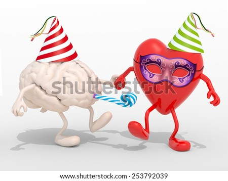human brain and heart with arms, legs, party cap, mask, blowers isolated 3d illustration - stock photo