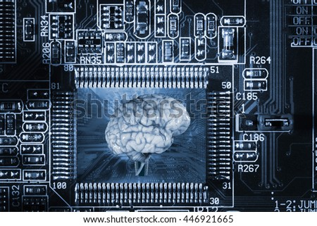 Human brain and technology communication and artificial intelligence, shallow depth of field - stock photo