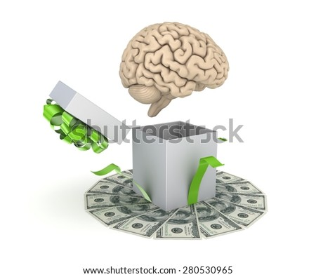 Human brain at a gift box and big pack of dollars. - stock photo