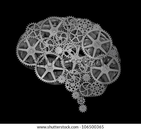 Human brain build out of cogs and gears - stock photo