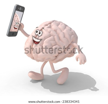 human brain cartoon with arms and legs take a self portrait with her smart phone, 3d illustration - stock photo