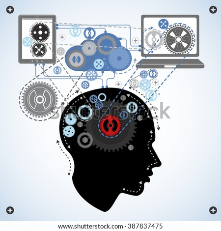 human brain communicating with technology - stock photo