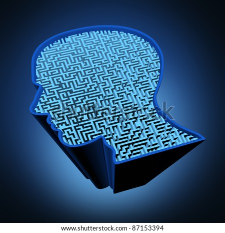 Human brain disease and intelligence puzzle with a blue glowing maze in the shape of a human head as a symbol of the complexity of brain thinking as a challenging problem to solve by medical doctors. - stock photo